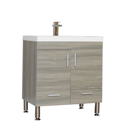 Furnishmore Greenville 30 in. Single Modern Bathroom Vanity in Gray with Mirror