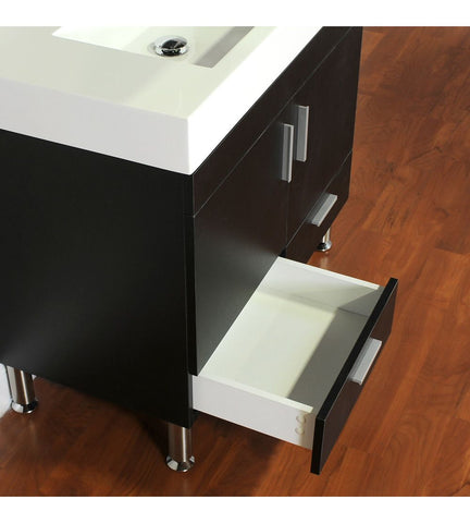 Furnishmore Greenville 36 in. Single Modern Bathroom Vanity in Black with Mirror