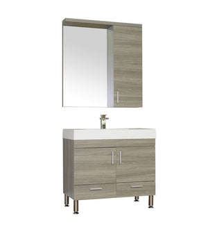 Furnishmore Greenville 36 in. Single Modern Bathroom Vanity in Gray with Mirror