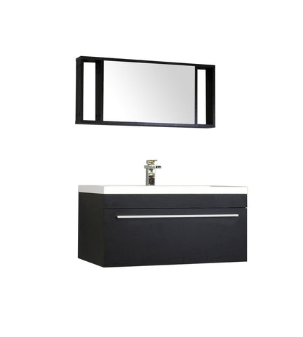 Image of Furnishmore  Greenville 36 in. Single Wall Mount Modern Bathroom Vanity in Black with Mirror