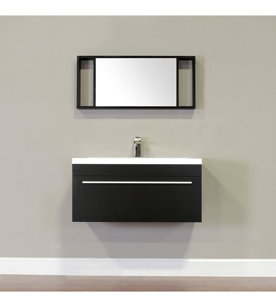 Furnishmore  Greenville 36 in. Single Wall Mount Modern Bathroom Vanity in Black with Mirror