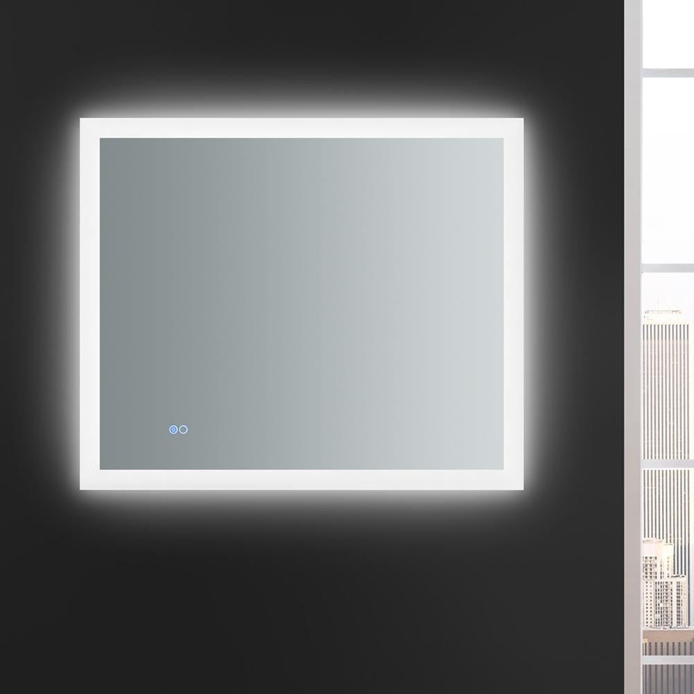 "Fresca Angelo 36"" Wide x 30"" Tall Bathroom Mirror w/ Halo Style LED Lighting and Defogger"