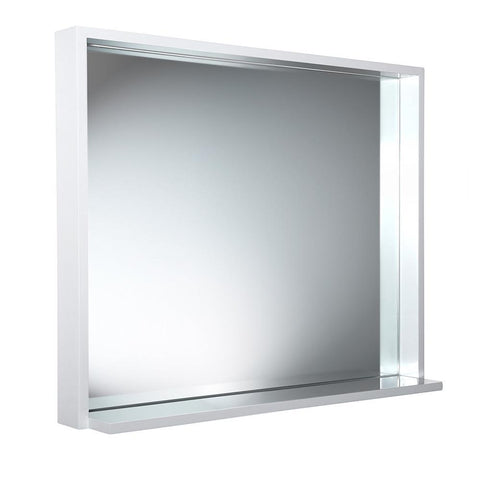 "Image of Fresca Allier 36"" white Mirror with Shelf"