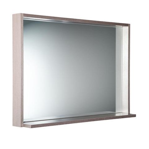 "Image of Fresca Allier 40"" Gray Oak Mirror with Shelf"