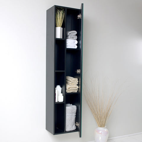 Image of Fresca Black Bathroom Linen Side Cabinet w/ 4 Cubby Holes & Mirror