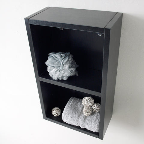 Image of Fresca Black Bathroom Linen Side Cabinet w/ 2 Open Storage Areas