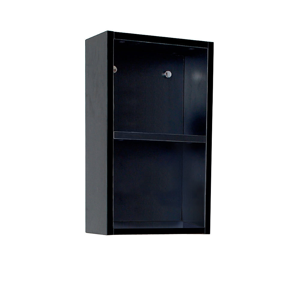 Fresca Black Bathroom Linen Side Cabinet w/ 2 Open Storage Areas