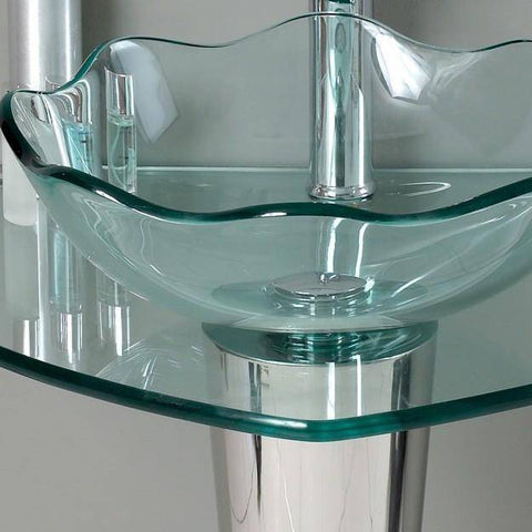 "Image of Fresca Netto 24"" Modern Glass Bathroom Vanity w/ Wavy Edge Vessel Sink"