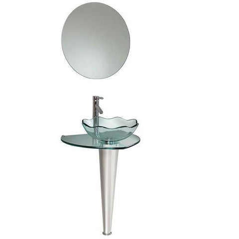 "Fresca Netto 24"" Modern Glass Bathroom Vanity w/ Wavy Edge Vessel Sink"