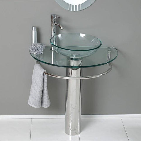 "Image of Fresca Attrazione 29.75"" Modern Glass Bathroom Vanity w/ Frosted Edge Mirror"