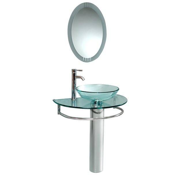 "Fresca Attrazione 29.75"" Modern Glass Bathroom Vanity w/ Frosted Edge Mirror"
