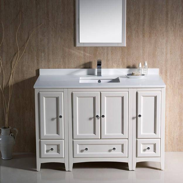 "Fresca Oxford 48"" Antique White Traditional Bathroom Vanity"