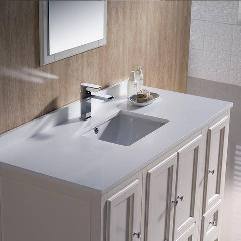 "Image of Fresca Oxford 48"" Antique White Traditional Bathroom Vanity"