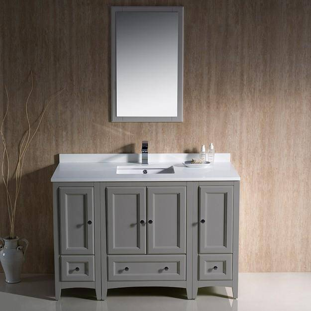 "Fresca Oxford 48"" Gray Traditional Bathroom Vanity"
