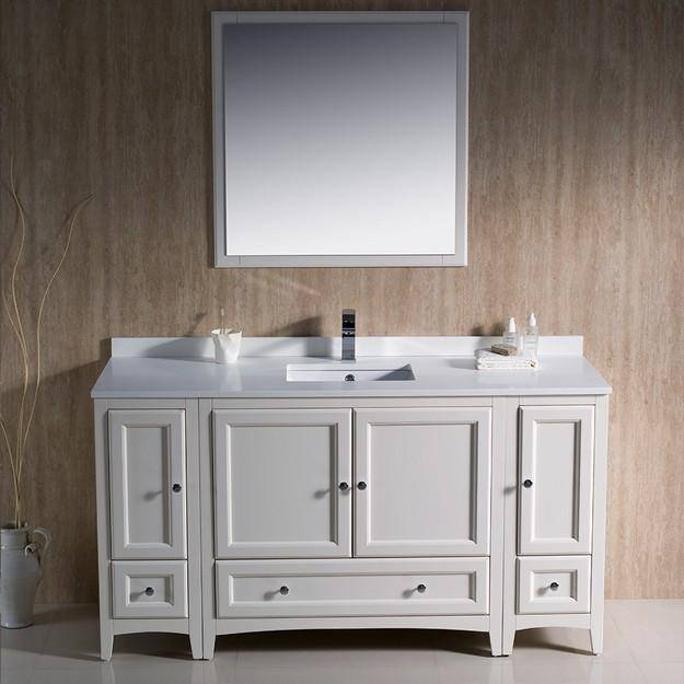 "Fresca Oxford 60"" Antique White Traditional Bathroom Vanity"