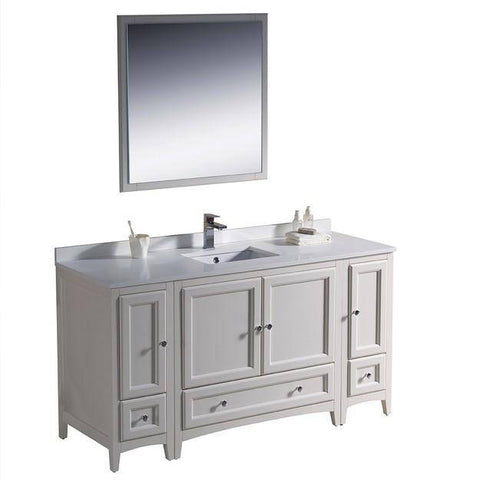 "Image of Fresca Oxford 60"" Antique White Traditional Bathroom Vanity"