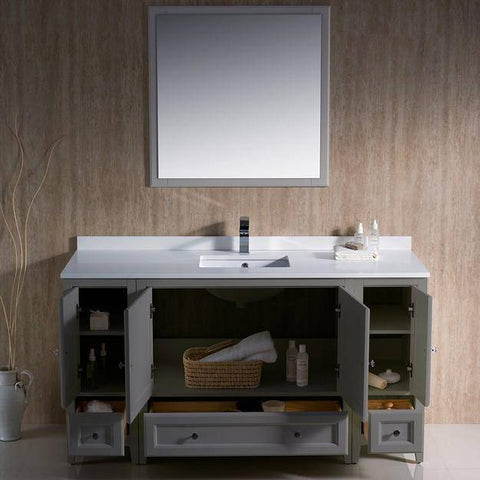 "Image of Fresca Oxford 60"" Gray Traditional Bathroom Vanity"