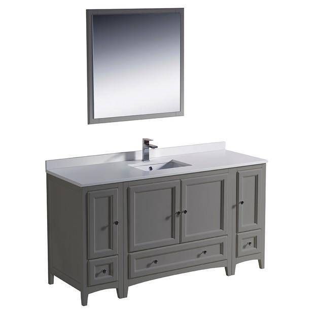 "Fresca Oxford 60"" Gray Traditional Bathroom Vanity"