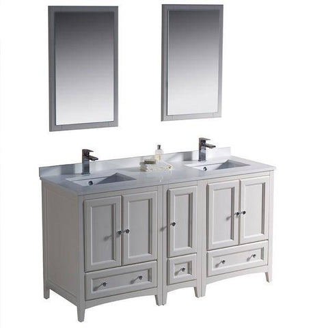 "Image of Fresca Oxford 60"" Antique White Traditional Double Sink Bathroom Vanity"
