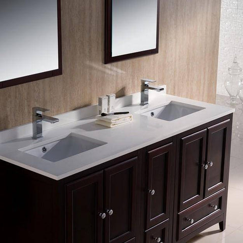 "Image of Fresca Oxford 60"" Mahogany Traditional Double Sink Bathroom Vanity"
