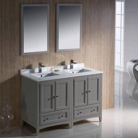 "Image of Fresca Oxford 48"" Gray Traditional Double Sink Bathroom Vanity"