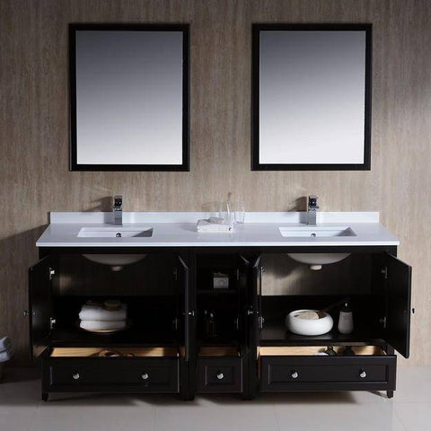 "Image of Fresca Oxford 72"" Espresso Traditional Double Sink Bathroom Vanity"