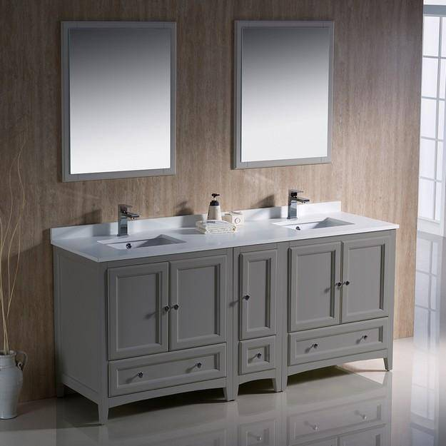 "Fresca Oxford 72"" Gray Traditional Double Sink Bathroom Vanity"