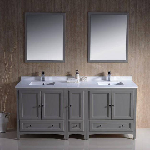 "Image of Fresca Oxford 72"" Gray Traditional Double Sink Bathroom Vanity"
