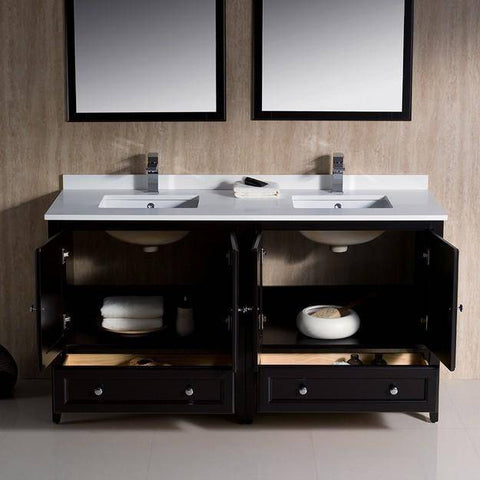 "Image of Fresca Oxford 60"" Espresso Traditional Double Sink Bathroom Vanity"