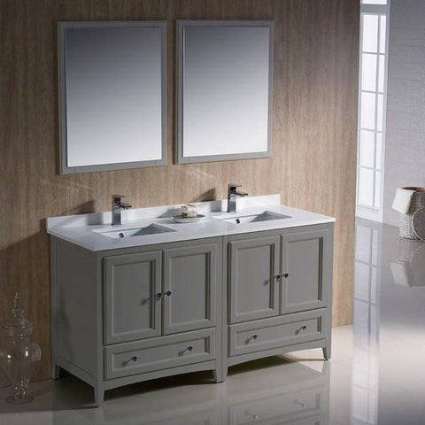 "Image of Fresca Oxford 60"" Gray Traditional Double Sink Bathroom Vanity"