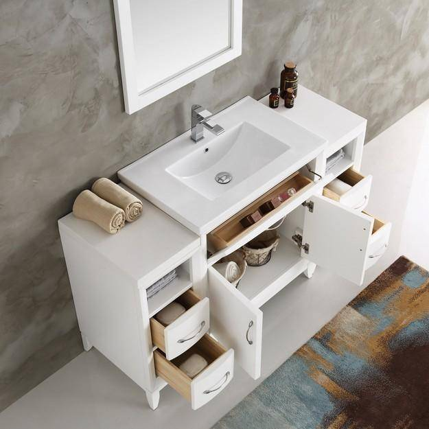 "Fresca Cambridge 54"" White Traditional Bathroom Vanity with Mirror"