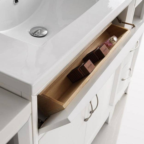 "Image of Fresca Cambridge 54"" White Traditional Bathroom Vanity with Mirror"
