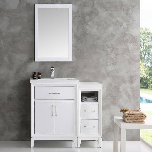 "Fresca Cambridge 36"" White Traditional Bathroom Vanity with Mirror"