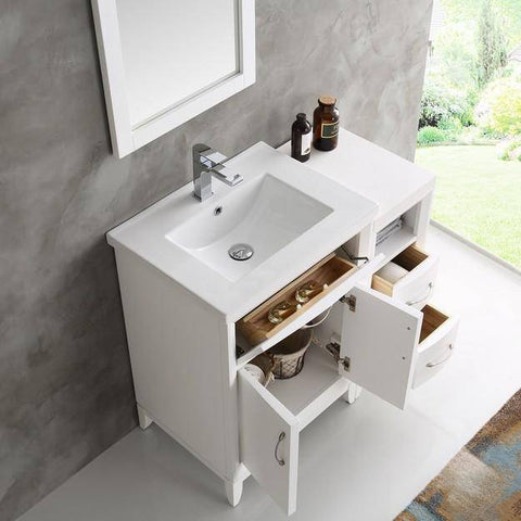 "Image of Fresca Cambridge 36"" White Traditional Bathroom Vanity with Mirror"