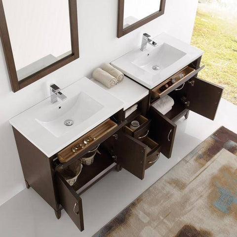 "Image of Fresca Cambridge 72"" Antique Coffee Double Sink Traditional Bathroom Vanity with Mirrors"