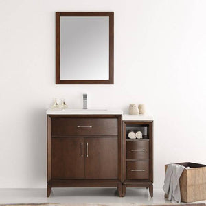 "Fresca Cambridge 42"" Antique Coffee Traditional Bathroom Vanity with Mirror"