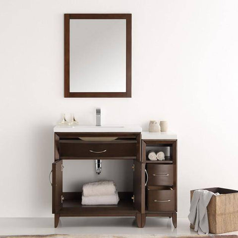 "Image of Fresca Cambridge 42"" Antique Coffee Traditional Bathroom Vanity with Mirror"