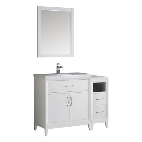 "Image of Fresca Cambridge 42"" White Traditional Bathroom Vanity with Mirror"