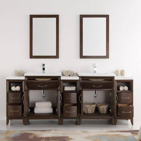 "Fresca Cambridge 84"" Antique Coffee Double Sink Traditional Bathroom Vanity with Mirrors"