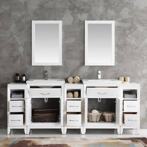 "Fresca Cambridge 84"" White Double Sink Traditional Bathroom Vanity with Mirrors"