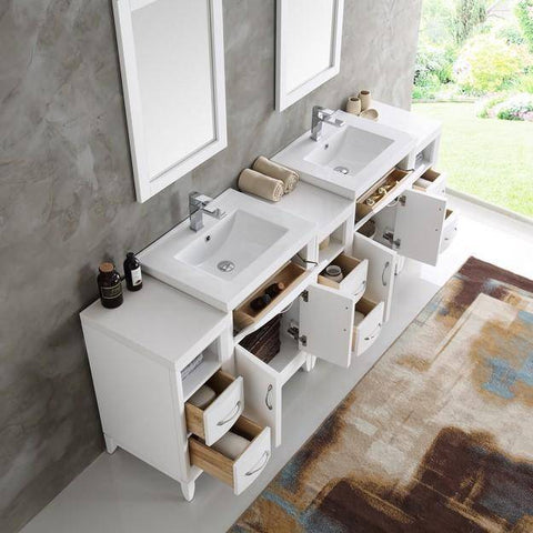 "Image of Fresca Cambridge 84"" White Double Sink Traditional Bathroom Vanity with Mirrors"