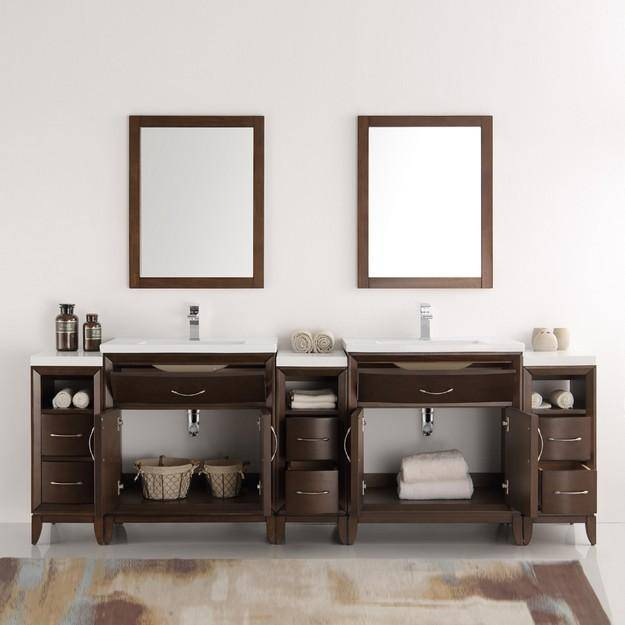 "Fresca Cambridge 96"" Antique Coffee Double Sink Traditional Bathroom Vanity with Mirrors"