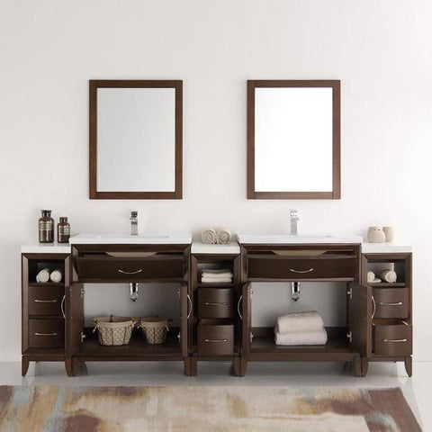 "Image of Fresca Cambridge 96"" Antique Coffee Double Sink Traditional Bathroom Vanity with Mirrors"