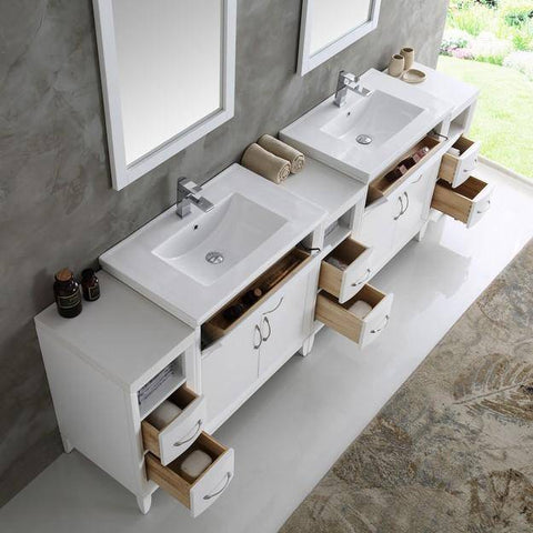 "Image of Fresca Cambridge 96"" White Double Sink Traditional Bathroom Vanity with Mirrors"