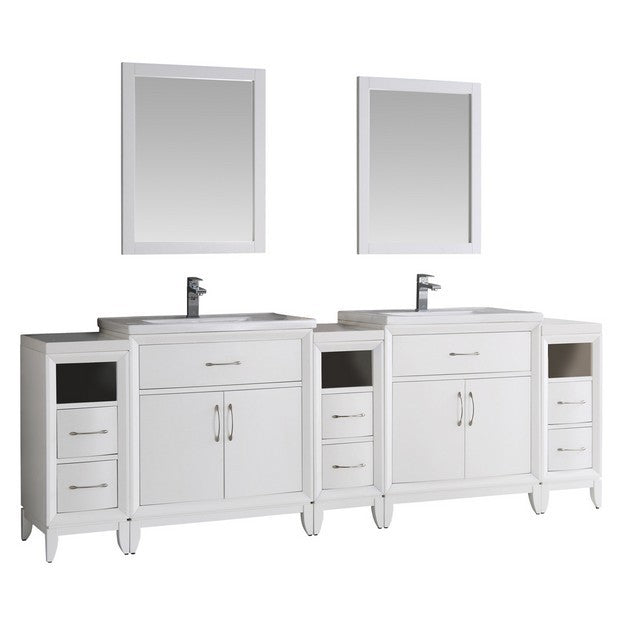 "Fresca Cambridge 96"" White Double Sink Traditional Bathroom Vanity with Mirrors"