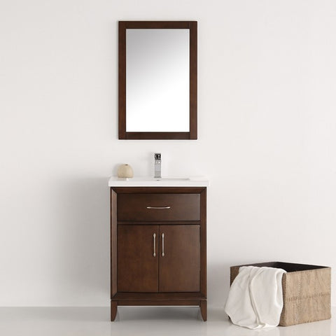 "Fresca Cambridge 24"" Antique Coffee Traditional Bathroom Vanity with Mirror"