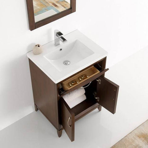 "Image of Fresca Cambridge 24"" Antique Coffee Traditional Bathroom Vanity with Mirror"
