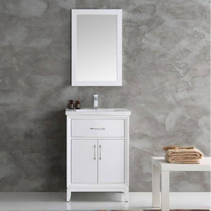 "Fresca Cambridge 24"" White Traditional Bathroom Vanity with Mirror"
