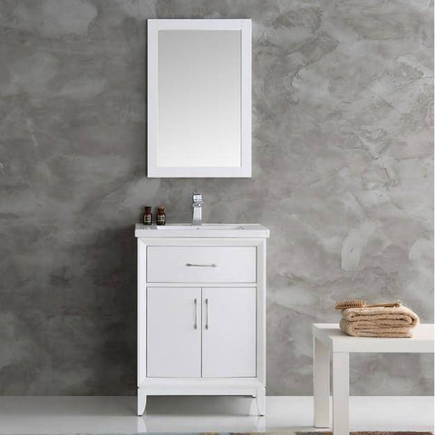 "Image of Fresca Cambridge 24"" White Traditional Bathroom Vanity with Mirror"