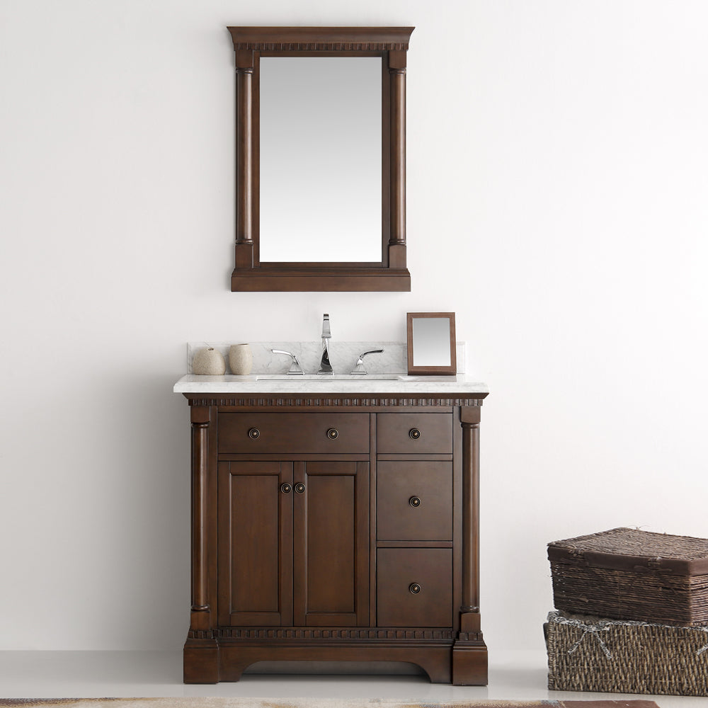 "Fresca Kingston 37"" Antique Coffee Traditional Bathroom Vanity with Mirror"